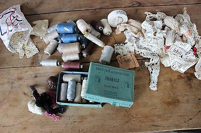 Set of haberdashery antique - Coils son embroidery Aiguilles Buttons pearly