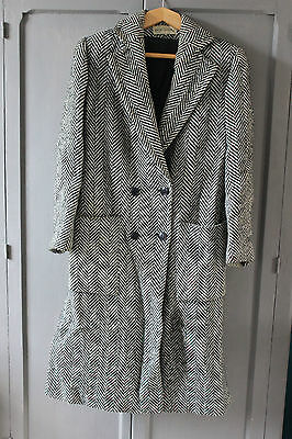 Antique long jacket White and black - T. 40 42 - Jean Bailly - Coat