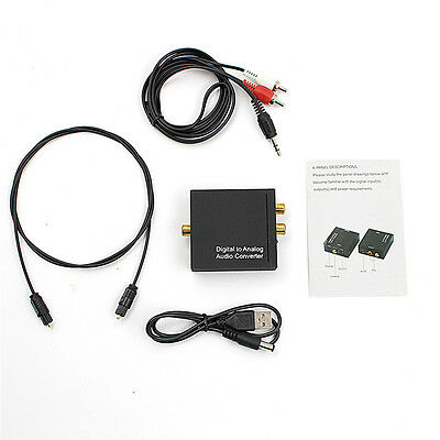 3.5mm Digital Coaxial Toslink Optical to Analog L/R RCA Audio Converter Adapter#