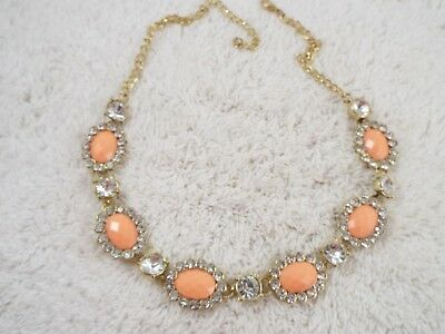 Goldtone Rhinestone Peach Cabochon Necklace (C33)