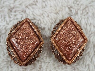 Copper Glitter Confetti Cabochon Clip-on Earrings (C33)