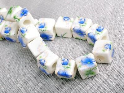 NEW 10pcs 10mm Cube Square Ceramic Spacer Loose Beads Flowers Pattern #18