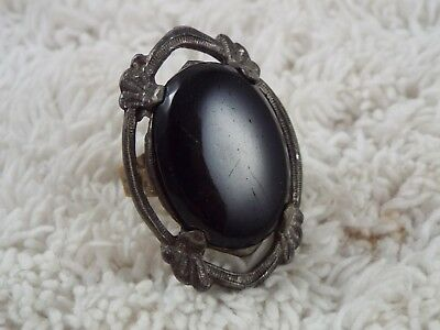 Vintage Black Stone Ring ~ Adjustable Size 5-8 (C33)