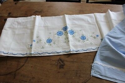Set of 2 Antique sheets White and blue - Embroidery - To clean