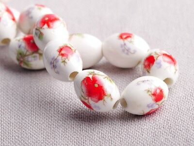 NEW 10pcs 15X10mm Oval Ceramic Spacer Findings Loose Beads Flowers Pattern #14