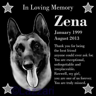"Personalized Belgian Malinois Pet Memorial 12""x12"" Engraved Granite Grave Marker"
