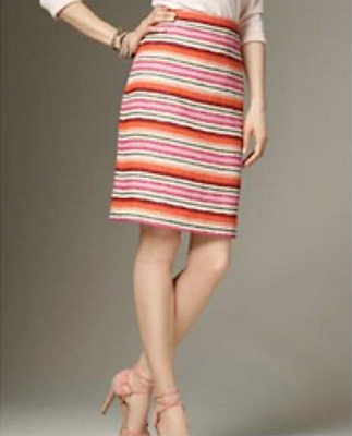 01200eea21 TALBOTS Multi HORIZONTAL STRIPES Striped LINEN Pencil Straight Skirt Sz 6  12P 10
