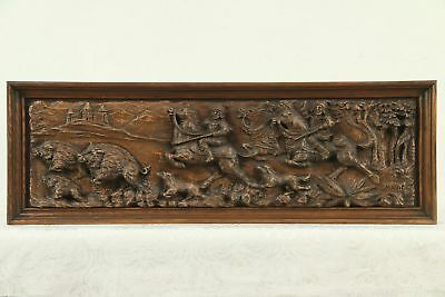 Architectural Salvage Carved Panel, Hunting Scene, Italy, Signed Mario #29109