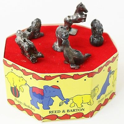 Reed & Barton Birthday Circus Cake Candle Holders, Silver Plate (6) Animals