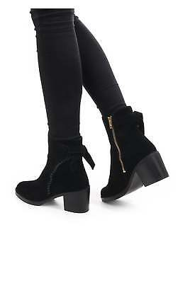 36a3c4c43fe WOMENS UGG AUSTRALIA Boots Fraise Whipstitch Black Bow Zip Up Ankle ...