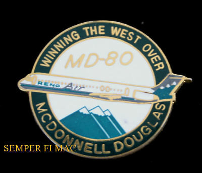 0902405f332d Reno Air Airlines Mcdonnell Douglas Md80 Hat Lapel Pin Long Beach Reno Gift  Wow