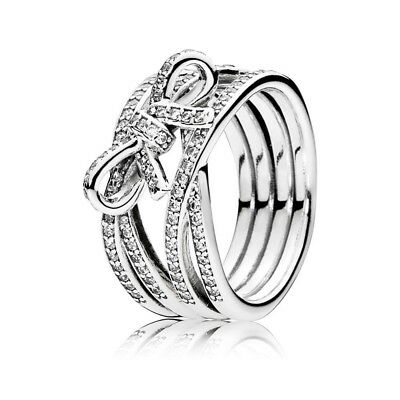Bow Combination Ring Women's Fashion White Topaz Ring Fine Crystal Ring