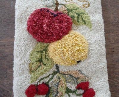 """Vintage Wool Canvas Bell Pull Hand Embroidered 3D Fruits Cherries 52"""""""