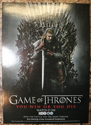 SDCC Comic Con 2011 Game of Thrones HBO Promo Card You Win or Die Eddard Stark