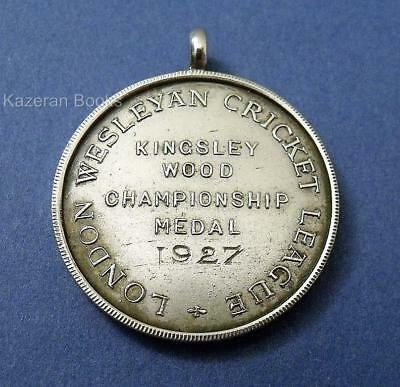 Vintage Solid Silver Watch Chain Medal Fob London Wesleyan Cricket 1927