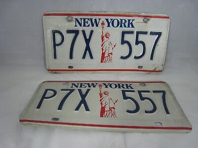 Ny State Pair Of License Plates Statue Of Liberty 1980S 1990S P7X557