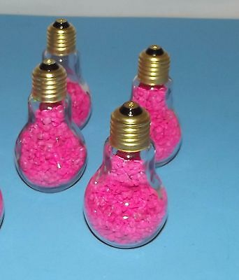 Bottles 4 Light Bulb Shaped Glass Brass Screw Cap Jars Container w Pink Pebbles