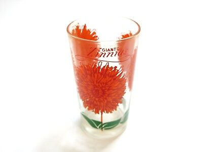 "Vintage Boscul Giant Zinnias Peanut Butter Glass Name On Top 5"" Tumbler Orange"
