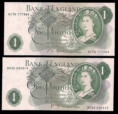 UK - 2 x ONE POUND 1960-77 -P# 374 - DIFF. SIGN. - UNC