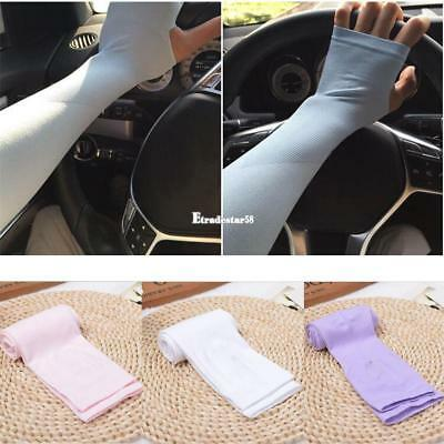 Cooling Arm Sleeves Cover UV Sun Protection Outdoor Half Finger Ice Silk ETDS