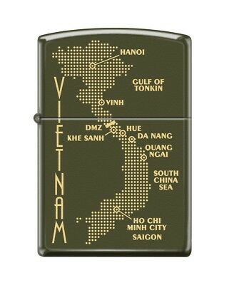 Zippo 0585 Map of Vietnam Green Matte Finish Full Size Lighter