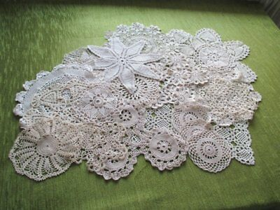 Vintage Mats Hand Crochet & Lace-Collection Of 20 Soft Ecru