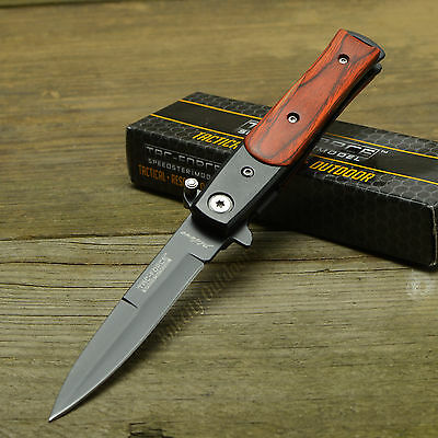 TAC Force Lil' Milano Stiletto Style Brown Wood Handle Assisted Open Knife New!