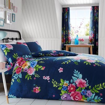Alice Floral Double Duvet Cover Set Roses Flowers Bedding - Navy & Pink