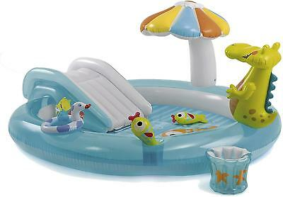 Intex Gator Childrens Activity Water Play Centre Paddling Pool Slide Spray
