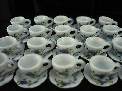 40 Coffee cup and Saucer Hand Painted Purple  Orchid Dollhouse Miniatures  Deco
