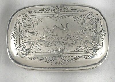 Albert Cole 1873 Sterling Great Engraved Hinged Snuff Box w/Rabbit Design
