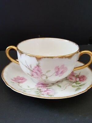 Haviland Limoges Bouillon cup and saucer Baltimore Rose