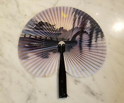 Vintage Scenic Paper & Metal Folding Fan Made People's Republic Of China