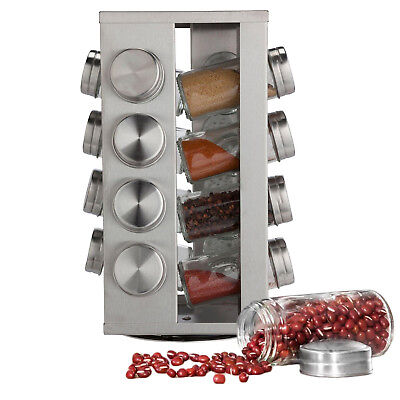 Stainless Steel 16 Jar Revolving Spice Rack Stand Carousel Rotating Glass No BPA