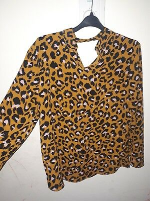 648e015c9095ec WOMEN'S B.YOUNG FITTED Leopard Print High Neck Blouse Size UK Large ...