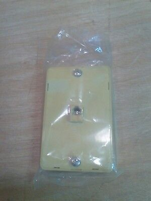 New/Old Stock Ivory Wall Mount Phone Mounting Plate W/ Side Telephone Jacks