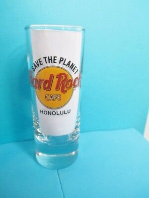 Hard Rock Cafe Honolulu Shot Glass 4'' Tall Save The Plant Black Letters Box New