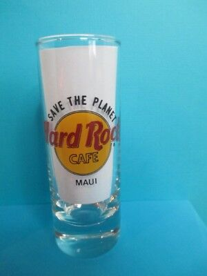 Hard Rock Cafe Maui Shot Glass 4'' Tall Save The Planet Black Letters New
