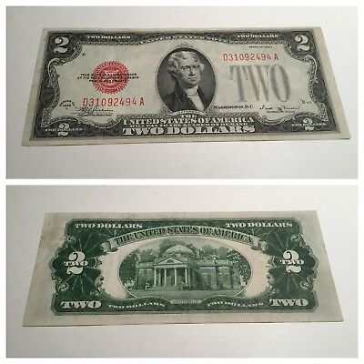 VINTAGE two DOLLARS $2 1928-E VINSON UNITED STATES NOTE DOLLAR JEFFERSON RED VNC