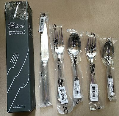NIB~Fortessa Filet 18//10 Stainless Steel 5 Piece Flatware Set for One-ship free