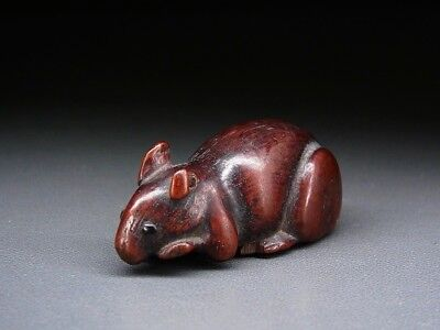 FINE Boxwood Mouse NETSUKE 18-19thC Japanese Edo Antique for INRO  f397