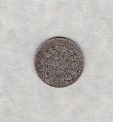 Italy 1868 Xxii R Silver 10 Soldi From Papal States In Good Very Fine Condition