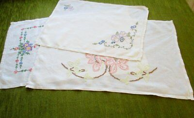 VINTAGE TRAY CLOTHS-HAND EMBROIDERED-COLLECTION of 3-LINEN