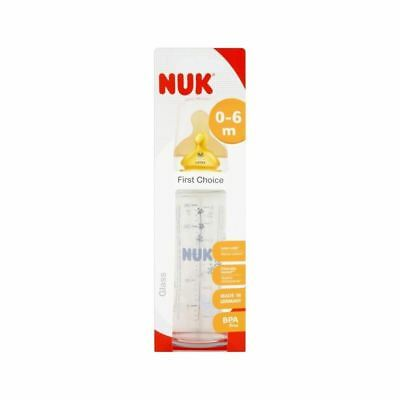 NUK First Choice 240ml Glass Bottle Latex Teat Size 1, 0-6 months - Pack of 6