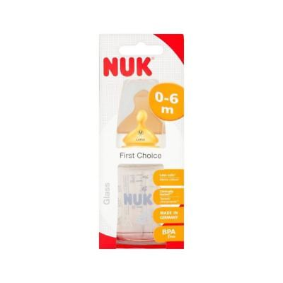 NUK First Choice 120ml Glass Bottle Latex Teat Size 1, 0-6 Months - Pack of 6