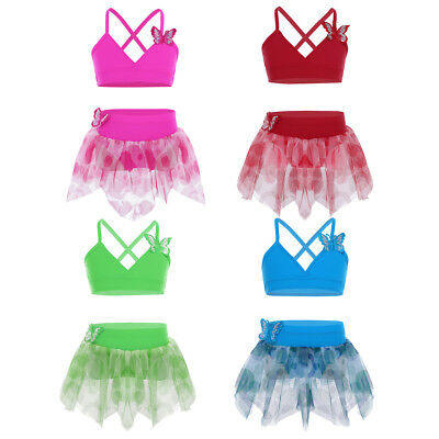 Girl Gymnastics Leotard Dress Ballet Dance Tutu Skirt or Child Swimsuit Swimwear