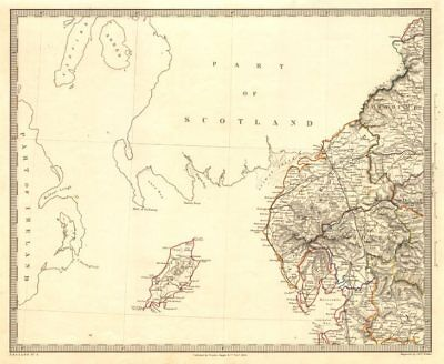NORTH WEST ENGLAND. Lake District Isle of Man Cumbria Westmorland. SDUK 1845 map