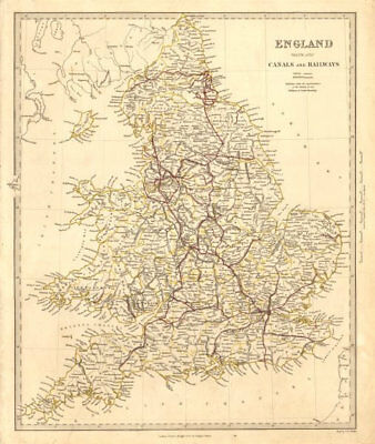 ENGLAND AND WALES. Canals and Railways. SDUK 1845 old antique map plan chart