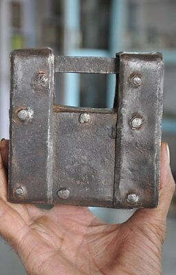 Old Iron Unique Shape Solid Handcrafted Padlock , Rich Patina
