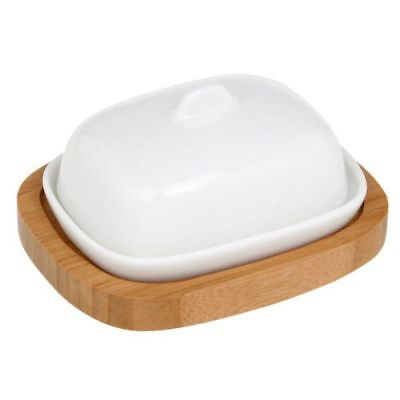White Mini Butter Dish With Bamboo Stand Kitchen Accessories